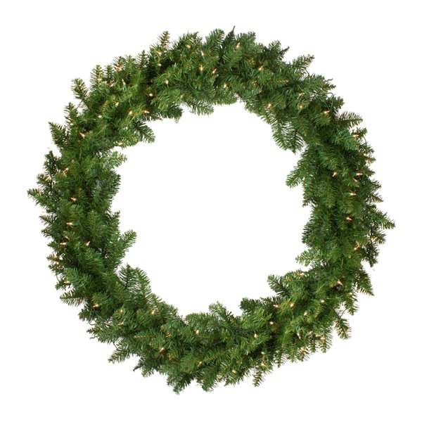 Northlight Pre-Lit Eastern Pine Artificial Christmas Wreath - 48-in - Clear Lights
