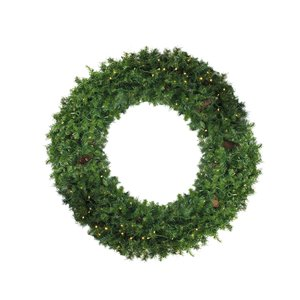 Northlight Pre-Lit Dakota Red Pine Commercial Artificial Xmas Wreath - 6-ft