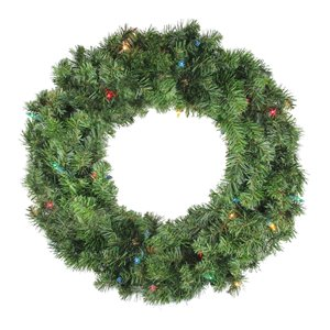 Northlight Pre-Lit Canadian Pine Artificial Christmas Wreath - Multi Lights - 24-in