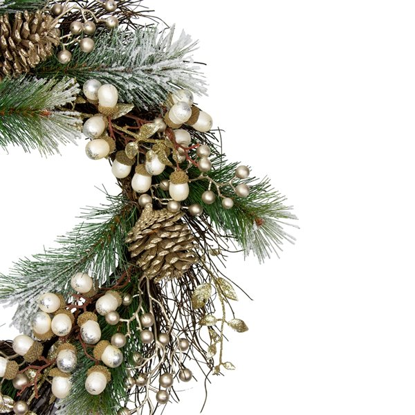 Northlight Acorn and Pine Cone Flocked Pine Needle Artificial Xmas Wreath - 11-in