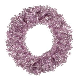Northlight Metallic Pink Artificial Double Tinsel Christmas Wreath - Unlit - 24-in