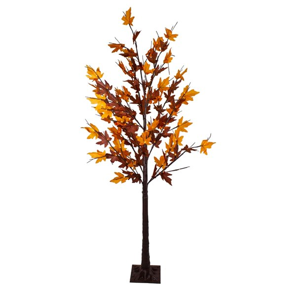 Northlight Pre-Lit LED Brown Maple Artificial Christmas Tree - 6-ft