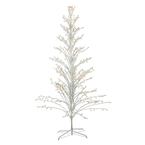 Northlight White Lighted Christmas Cascade Twig Tree Outdoor Decoration - 6-ft