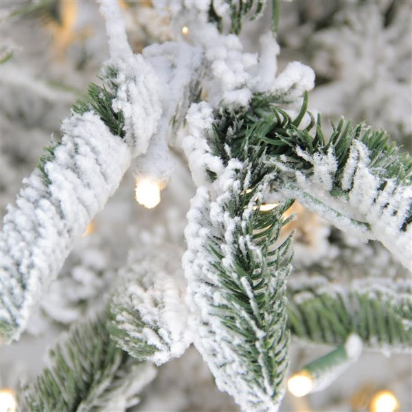 Northlight Pre-Lit Noble Fir Flocked Artificial Christmas Tree -Warm Clear Lights - 9-ft