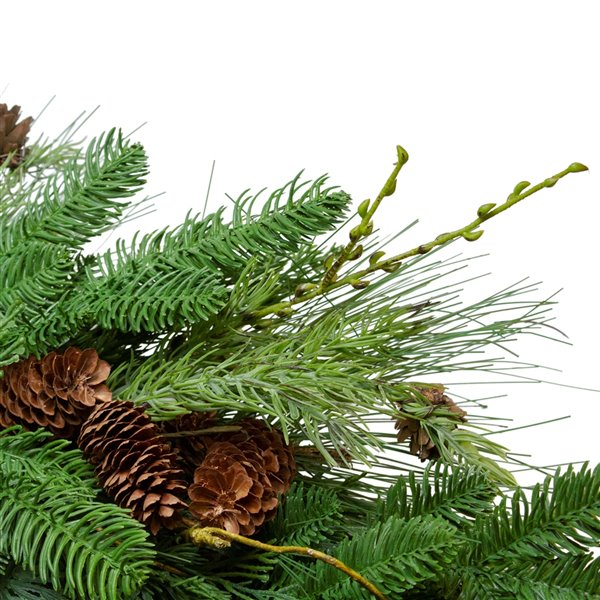 Northlight Pine Cone and Cedar Artificial Christmas Wreath - Unlit - 32-in