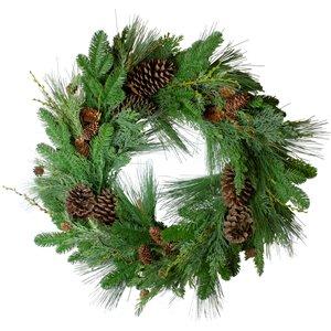 Northlight Pine Cone and Cedar Artificial Christmas Wreath - Unlit - 32-in