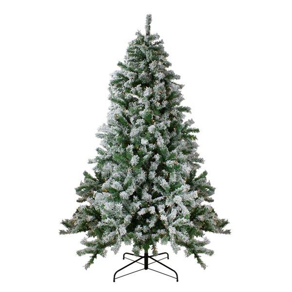 Northlight Pre-Lit Medium Flocked Winter Park Fir Artificial Xmas Tree - 7.5-ft