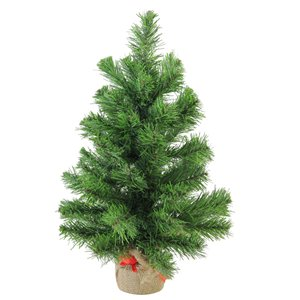 Northlight Mini Pine Medium Artificial Christmas Tree in Burlap Base - Unlit -18-in