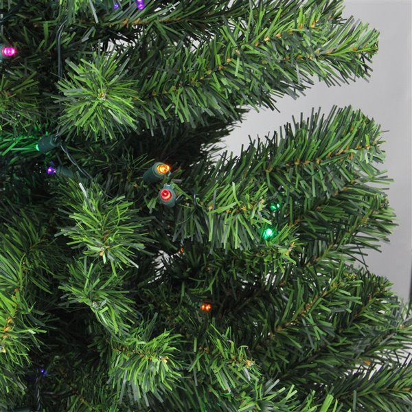 Northlight Pre-Lit Full Canadian Pine Artificial Christmas Tree - Multi Lights -  3-ft