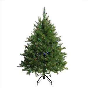 Northlight Pre-Lit Full Northern Pine Artificial Christmas Tree - Multicolor LED Lights - 4-ft