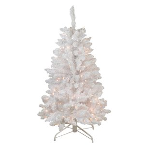 Northlight Pre-Lit Slim Flocked Artificial Christmas Tree - Clear Lights - 4-ft