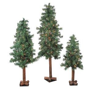 Northlight Set of 3 Pre-Lit Woodland Alpine Artificial Christmas Trees - 5-ft