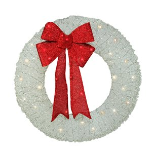 Northlight Pre-Lit Red and White Outdoor Xmas Wreath - 36-in