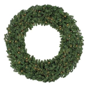 Northlight Pre-Lit Commercial Canadian Pine Artificial Xmas Wreath - 5-ft