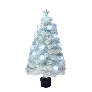 Northlight Pre-Lit Medium White Iridescent Fiber Optic Artificial Xmas Tree -  4-ft