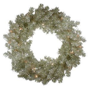 Northlight Pre-Lit Metallic Champagne Artificial Tinsel Xmas Wreath - 24-in