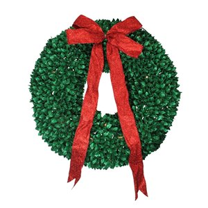 Northlight Pre-Lit Glittered Artificial Leaves Christmas Wreath - 28-in