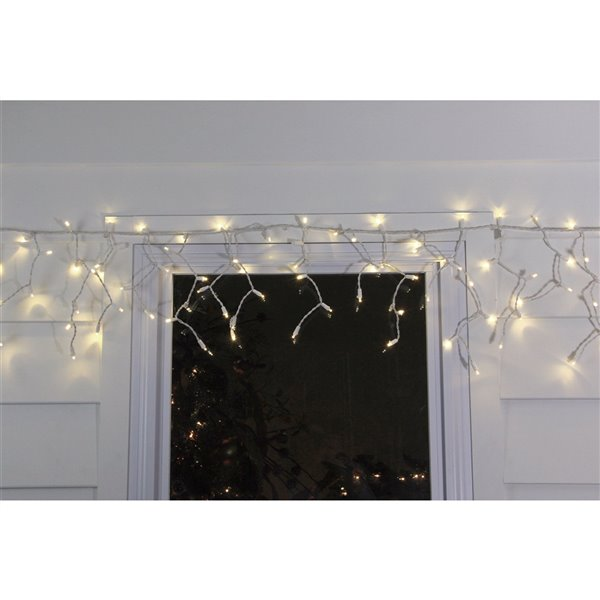Northlight 100 Christmas Lights LED Wide Angle Icicle - White Wire
