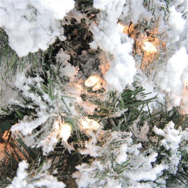 Northlight Set of 3 Pre-Lit Heavily Flocked Alpine Artificial Xmas Trees - 5-ft