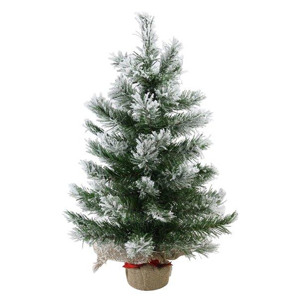 Northlight Flocked Pine Full Artificial Christmas Tree in Burlap Base - Unlit - 22-in