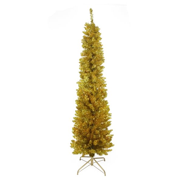 Northlight Pre-Lit Gold Tinsel Pencil Artificial Christmas Tree - Clear Lights - 6-ft