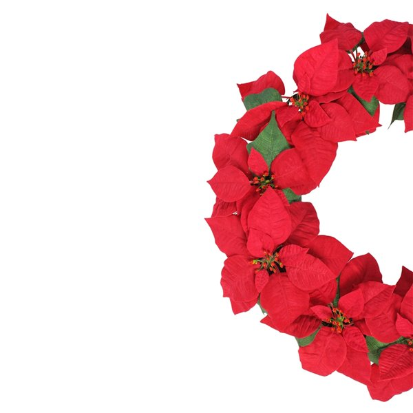 Northlight Red Artificial Poinsettia Flower Christmas Wreath - Unlit - 24-in