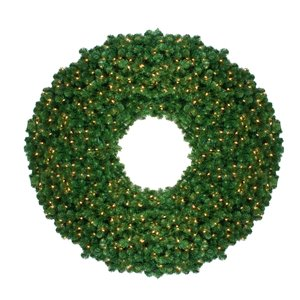 Northlight Pre-Lit Olympia Pine Artificial Christmas Wreath - Clear Lights - 60-in