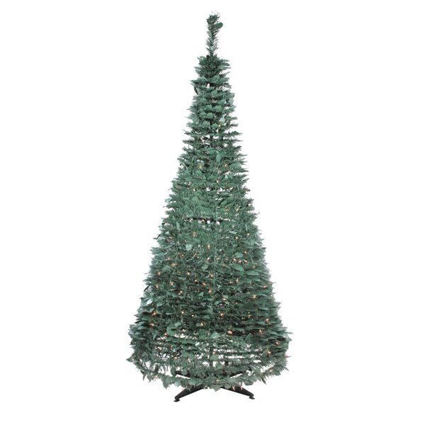 Northlight Pre-Lit Slim Green Holly Leaf Pop-Up Artificial Christmas Tree - 6-ft