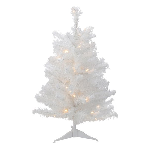 Northlight Pre-Lit White Medium Artificial Christmas Tree - Clear LED Lights - 2-ft