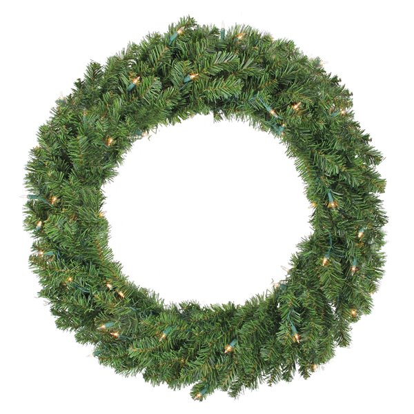 Northlight Pre-Lit Canadian Pine Artificial Christmas Wreath - Clear Lights - 36-in