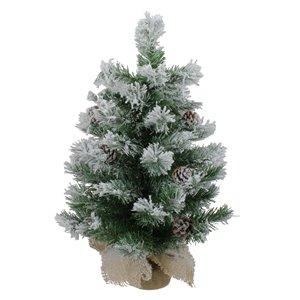 Northlight Flocked Pine Artificial Christmas Tree in Burlap Base - Unlit - 24-in