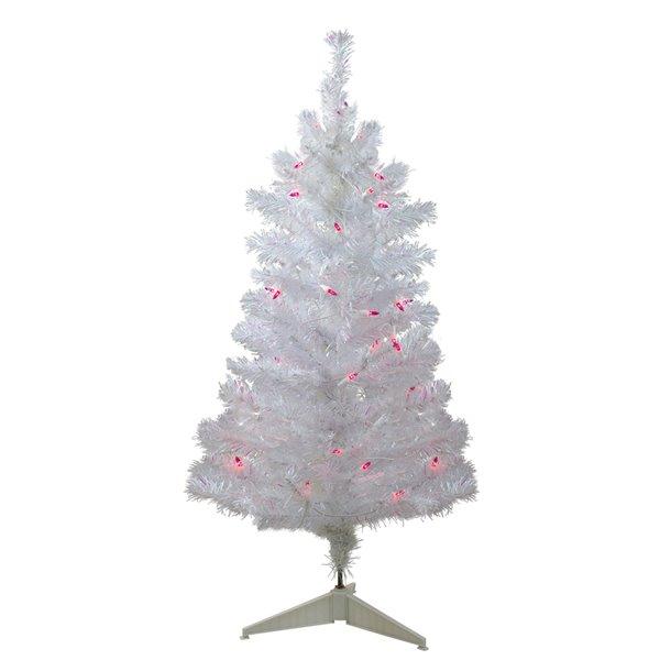 Northlight Pre-Lit White Iridescent Pine Slim Artificial Christmas Tree - Pink Lights - 3-ft