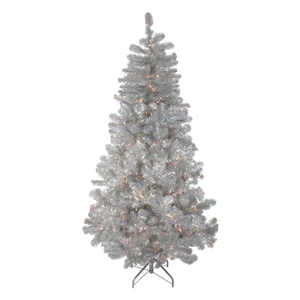 Northlight Pre-Lit Full Silver Metallic Tinsel Artificial Xmas Tree - 6.5-ft