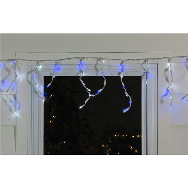 Northlight Christmas Lights 100 Blue and Pure White LED Wide Angle Icicle - 5.5 ft