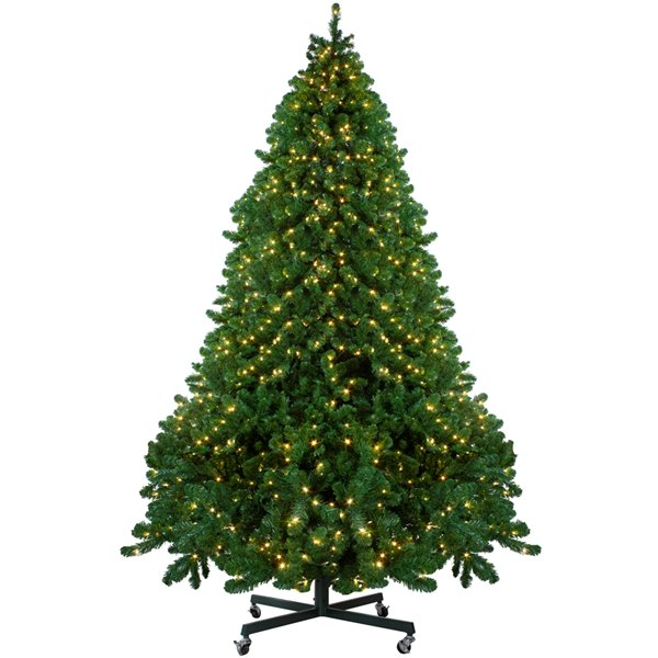 Northlight Pre-Lit Full Olympia Pine Artificial Xmas Tree with Wheels - 14-ft