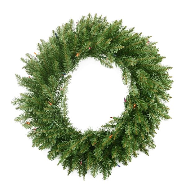 Northlight Pre-Lit Northern Pine Artificial Christmas Wreath - 36-in Multicolor Lights
