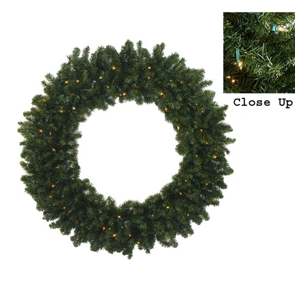 Northlight Pre-Lit Commercial Canadian Pine Artificial Xmas Wreath - 7-ft
