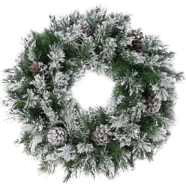 Northlight Green and Brown Flocked Angel Pine with Pine Cones Artificial Xmas Wreath - 24-in