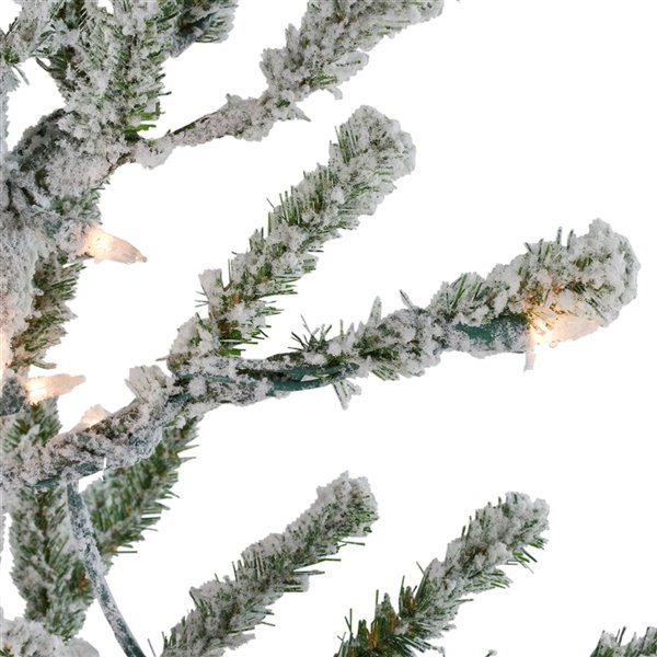 Northlight Pre-Lit Medium Flocked Alpine Twig Artificial Xmas Tree - 5-ft