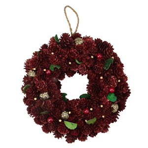 Northlight Red and Gold Pine Cone Artificial Christmas Wreath - 9.5-in - Unlit