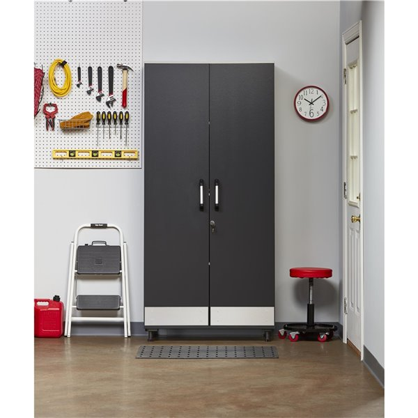 System Build Boss Tall Storage Cabinet - 15.75-in x 35.63-in x 76.38-in - Charcoal Gray