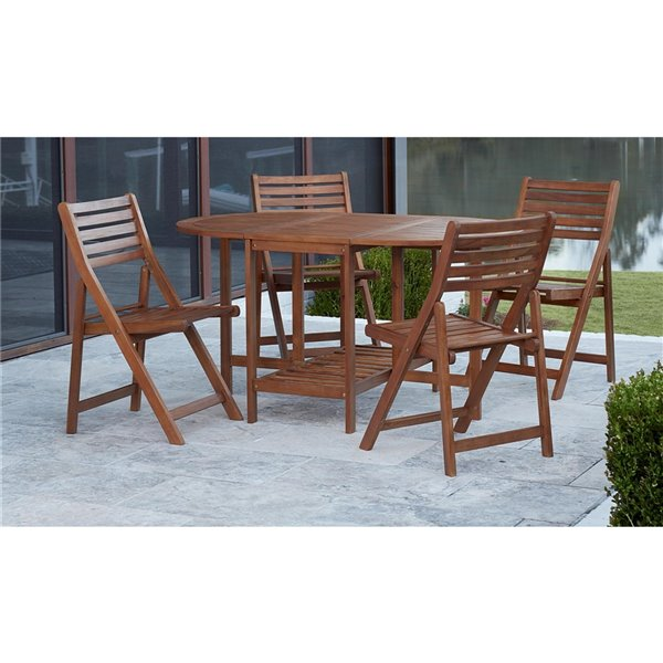 Cosco Outdoor Dining 5-Piece Set with Chair Storage - Brown