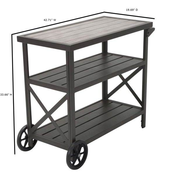Chariot de service Intellifit Outdoor Living de COSCO, 3 tablettes, 33,66 po, aluminium, marron foncé