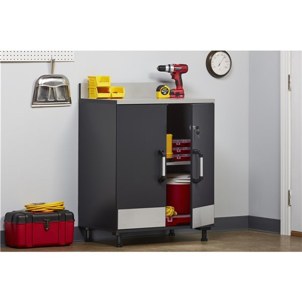System Build Boss 2-Door Base Cabinet - 19.69-in x 29.69-in x 40.88-in - Charcoal Gray