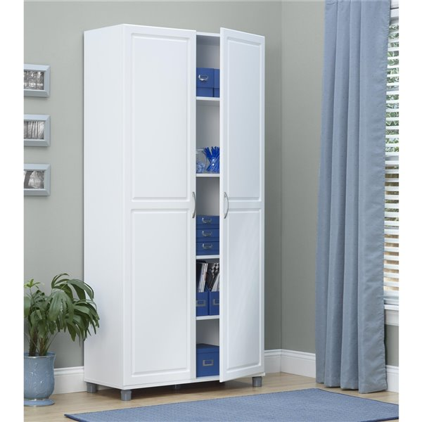 System Build Kendall Utility Storage Cabinet - 15.38-in x 23.69-in x 75-in - White