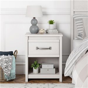 Ameriwood Bassinger Nightstand - 24.37-in - Wood - Ivory Oak