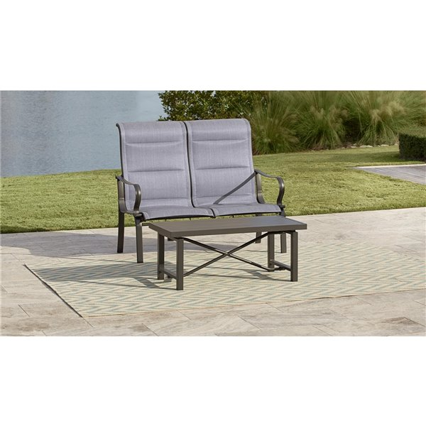 Cosco Outdoor Living SmartConnect Loveseat & Coffee Table - Light Slate Gray