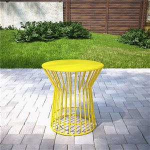 Novogratz Poolside Gossip Collection Roberta Side Table - 20.08-in x 20.08-in - Yellow