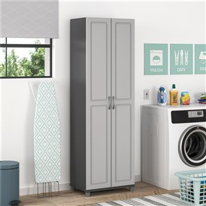 System Build Kendall Utility Storage Cabinet - 15.38-in x 15.69-in x 74.31-in - Gray