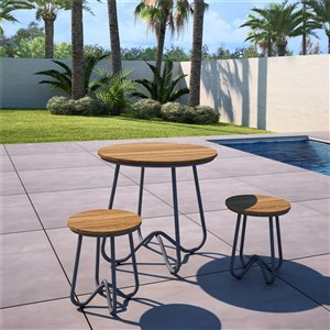 Novogratz Poolside Gossip Collection Bobbie Bistro 3-Piece Set - Charcoal